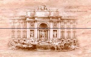 Travertin Fontana di Trevi панно из 4 шт., 80х50