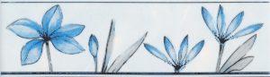 Бордюр 5,7х20 Валентино Цветы голубой