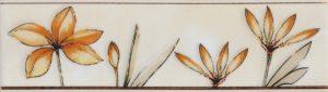 Бордюр 5,7х20 Валентино Цветы песочный