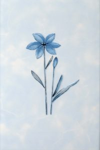 Декор 20х30 Валентино Цветы голубой